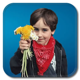 picture of boy holding flowers
